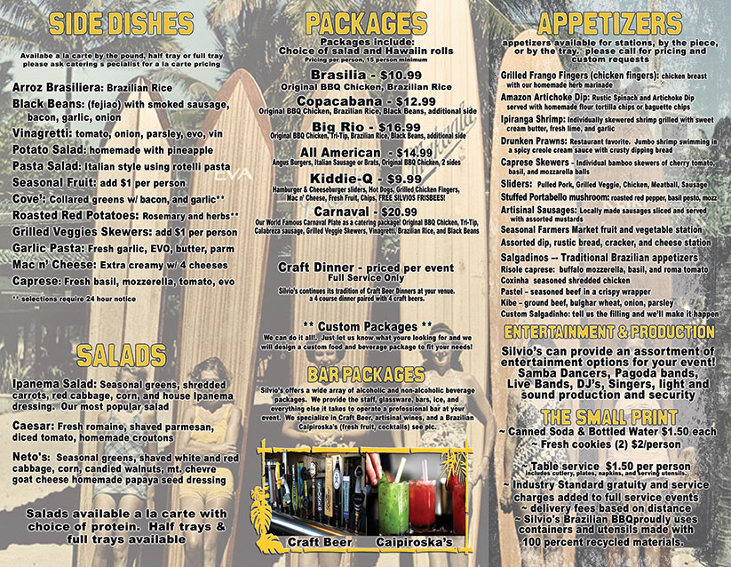 Silvio's BBQ catering menu back